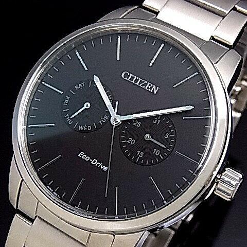 CITIZEN/エコドライブ【シチズン】メンズ ソーラー腕時計 ブラック文字盤 メタルベルト 海外モデル【並行輸入品】AO9040-52E