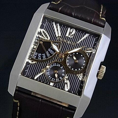 POLICE【ポリス】キングスアベニュー メンズ腕時計 レトログラードマルチカレンダー ブラック文字盤 ブラウンレザーベルト(国内正規品)13789MS-12【送料無料】