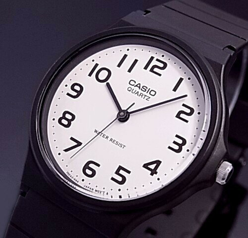 CASIO/Standard【カシオ/スタンダード】メンズ腕時計 ボーイズサイズ アナログクォーツ ホワイト文字盤 ブラックラバーベルト MQ-24-7B2LLJF(国内正規品)
