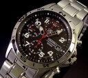 SEIKO/Chronograph【セイコー/クロノグラフ】ミリタリー メンズ腕時計 メタルベルト ブラック文字盤 SND375 海外モデル