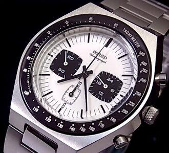SEIKO/WIRED 맨즈 손목시계 크로노그래프 메탈 벨트 화이트/블랙 문자판 AGAV022(국내 정규품)