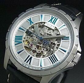 【Furbo Design / フルボ デザイン】スケルトン 自動巻 メンズ腕時計 シルバー/ブルー文字盤 ネイビーレザーベルト F5021SSIBL【送料無料】