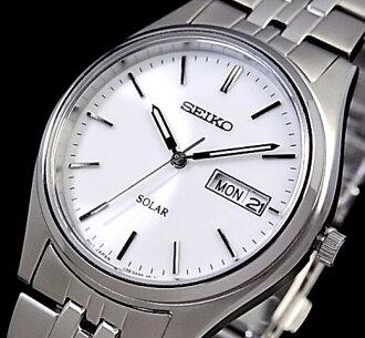 SEIKO/솔러 시계 맨즈 손목시계 메탈 벨트 화이트 문자판 SNE031P1 해외 모델