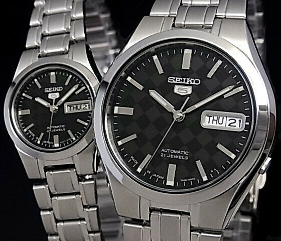 SEIKO/SEIKO5【セイコー5/セイコーファイブ】ペアウォッチ 自動巻腕時計 メタルベルト ブラック文字盤 MADE IN JAPAN セイコーファイブ SNKG13J1/SYMH21J1 海外モデル【並行輸入品】