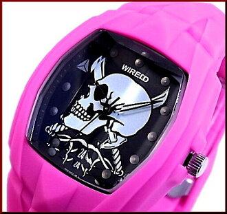 SEIKO/WIRED 맨즈 손목시계 DELTA SKULL/데르타스카르핀크베르트핀크/블랙 문자판(국내 정규품) AGAT015