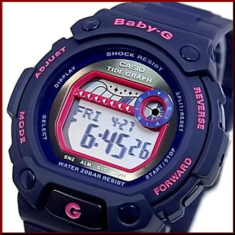 CASIO/Baby-G 여성 시계 G-LIDE/G를 타고 네이 비/핑크 BLX-102-2A 해외 모델