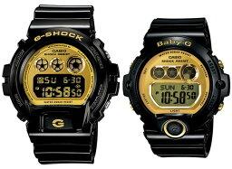 CASIO/G-SHOCK/Baby-G一對表手錶黑色/黄金DW-6900CB-1/BG-6901-1(海外型號)