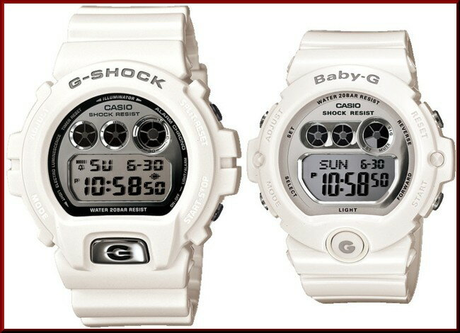 CASIO/G-SHOCK/Baby-G【カシオ/Gショック/ベビーG】ペアウォッチ 腕時計 ホワイト/シルバー DW-6900MR-7JF/BG-6900-7JF(国内正規品)