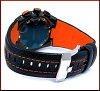 SEIKO/Sportura men watch alarm chronograph black clockface black / orange leather belt SNA595P2( foreign countries model)