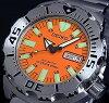 SEIKO/200m diver 's watch 자동 권 남자 시계 메탈 벨트 오렌지 문자판 MADE IN JAPAN 해외 모델 SKX781J1