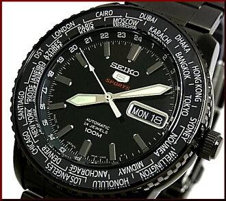 SEIKO/SEIKO5 Sports 자동 권 남자 시계 MADE IN JAPAN 블랙 메탈 벨트 블랙 문자판 SRP129J1 해외 모델