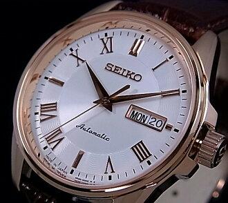 SEIKO/Presage 기계식 자동 권 남자 시계 핑크 골드 화이트 문자판 브라운 레더 벨트 SRP188J1 Made in Japan 해외 모델
