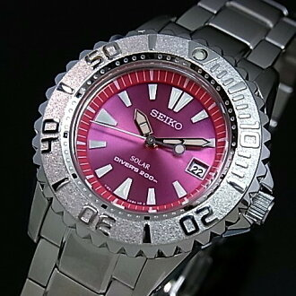 SEIKO/PROSPEX 다이버 스쿠버 레이디스 솔러 손목시계 핑크 문자판 메탈 벨트(국내 정규품) STBR003