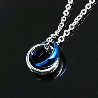 LION HEART / stainlesaxemens 2-ring top stainless Necklace blue 04N124SMBL (Japanese regular Edition)