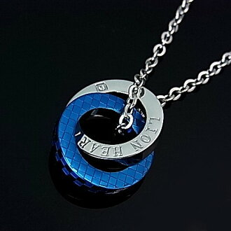 LION HEART / stainlesaxemens 2-ring top stainless Necklace blue 04N135SMBL (Japanese regular Edition)