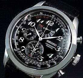 SEIKO/Alarm Chronograph【セイコー/アラームクロノグラフ】パーペチュアル メンズ腕時計 ブラックレザーベルト ブラック文字盤 SPC133P1 海外モデル【並行輸入品】