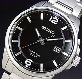 SEIKO/KINETIC 남자 시계 블랙 문자판 메탈 벨트 SKA665P1 (해외 모델)