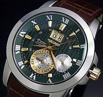 特别精工/总理动力学万年历诺瓦克 · 德约科维奇模型男装手表棕色皮革带绿色和金色字母版 SNP127P1 (海外模型)