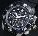 SEIKO/PROSPEX【セイコー/プロスペックス】メンズ DIVER'S/ダイバーズウォッチ クロノグラフ ソーラー腕時計 ブラックベゼル ラバーベルト ブラック文字盤 SSC021P1 海外モデ