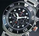 SEIKO/PROSPEX【セイコー/プロスペックス】メンズ DIVER'S/ダイバーズウォッチ クロノグラフ ソーラー腕時計 ブラックベゼル メタルベルト ブラック文字盤 SSC015P1 海外モデ