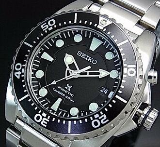 男子的SEIKO/KINETIC潜水员的手表黑色表盘金属皮带SKA371P1(海外型号)
