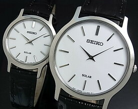 SEIKO/ソーラー時計【セイコー】ペアウォッチ 腕時計 ブラックレザーベルト ホワイト文字盤 SUP873P1/SUP299P1 海外モデル【並行輸入品】