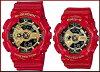 CASIO/G-SHOCK/Baby-G페아워치아나데지 손목시계 레드/골드(국내 정규품) GA-110 VLA-4 AJF/BA-110 VLA-4 AJR