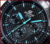 CASIO/EDIFICE chronograph men's watch black / blue character dial black rubber belts EF-552PB-1 A2V overseas models