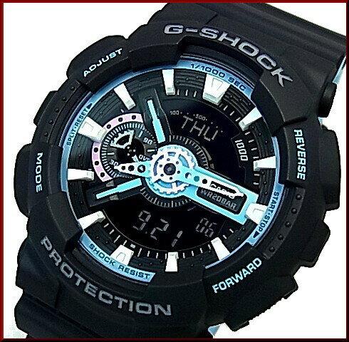 CASIO/G-SHOCK【カシオ/Gショック】ネオンアクセントカラー ブラック/ブルー アナデジ メンズ腕時計(国内正規品)GA-110PC-1AJF