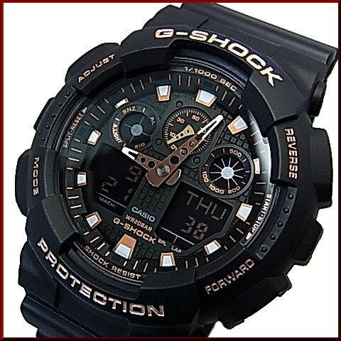 CASIO/G-SHOCK【カシオ/Gショック】アナデジモデル メンズ腕時計 ブラック/ローズゴールド 海外モデル【並行輸入品】GA-100GBX-1A4