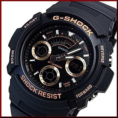 CASIO/G-SHOCK【カシオ/Gショック】デジアナモデル メンズ腕時計 ブラック/ローズゴールド 海外モデル【並行輸入品】AW-591GBX-1A4
