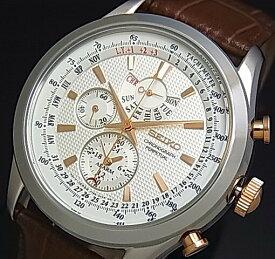 SEIKO/Alarm Chronograph【セイコー/アラームクロノグラフ】パーペチュアル メンズ腕時計 ブラウンレザーベルト シルバー/ピンクゴールド文字盤 SPC129P1 海外モデル【並行輸入品】