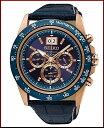 SEIKO/LORD【セイコー/ロード】クロノグラフ メンズ腕時計 ピンクゴールドケース ネイビーレザーベルト ネイビー文字…
