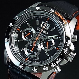 SEIKO/LORD chronograph Men's watch black / orange Leather strap black Dial reverse import model SPC237P1