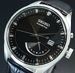 SEIKO/KINETIC【セイコー/キネテック】メンズ腕時計レトログラードブラックレザーベルトブラック文字盤海外モデル【並行輸入品】SRN045P2