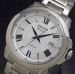 SEIKO/Premier人太陽能手錶銀子表盤金屬皮帶海外型號SNE453P1