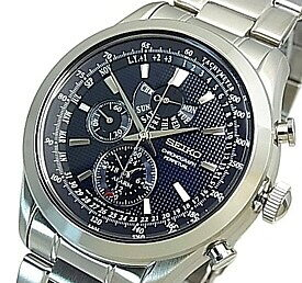 SEIKO/Alarm Chronograph【セイコー/アラームクロノグラフ】パーペチュアル メンズ腕時計 メタルベルト ネイビー文字盤 SPC125P1 海外モデル【並行輸入品】