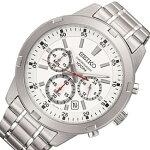 SEIKO/Chronograph【セイコー/クロノグラフ】メンズ腕時計メタルベルトホワイト文字盤海外モデル【並行輸入品】SKS601P1