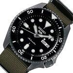 SEIKO/SEIKO5Sports【セイコー5スポーツ/ファイブスポーツ】自動巻メンズ腕時計モスグリーンナイロンベルトブラック文字盤海外モデル【並行輸入品】SRPD65K4