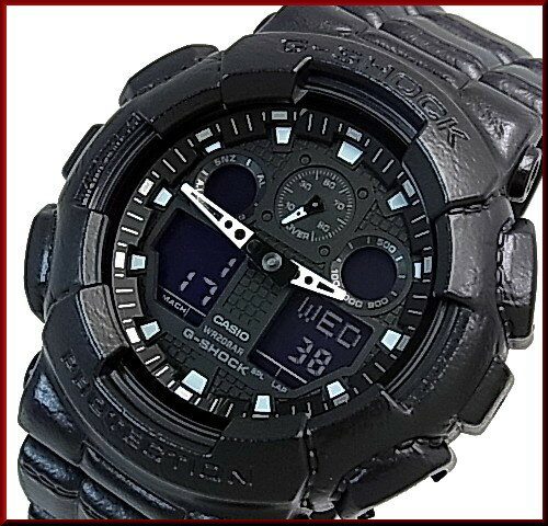 CASIO/G-SHOCK【カシオ/Gショック】アナデジモデル メンズ腕時計 レザー風 樹脂バンド ブラック(国内正規品)GA-100BT-1AJF