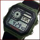 CASIO/Standard【カシオ/スタンダード】デジタル 世界地図表示ワールドタイム メンズ腕時計 モスグリーンナイロンベルト 海外モデル【並行輸入品】AE-1200WHB-3B