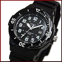 CASIO/Standard模擬石英女士手錶橡膠皮帶黑色表盤海外型號LRW-200H-1B