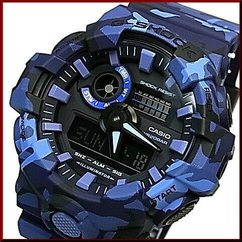 CASIO/G-SHOCK【カシオ/Gショック】アナデジ メンズ腕時計 ネイビーカモフラージュ(国内正規品)GA-700CM-2AJF