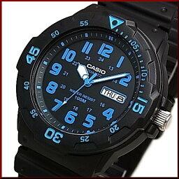 CASIO/Standard模擬石英人手錶橡膠皮帶黑色/藍色表盤海外型號MRW-200H-2B