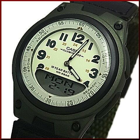 CASIO/Standard【カシオ/スタンダード】メンズ腕時計 アナデジモデル グリーンクロスバンド(国内正規品)AW-80V-3BJF