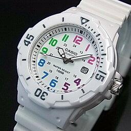 CASIO/Standard模擬石英女士手錶白橡膠皮帶白表盤海外型號LRW-200H-7B