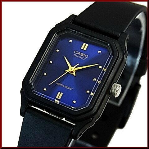 CASIO/Standard【カシオ/スタンダード】アナログクォーツ レディース腕時計 ラバーベルト ネイビー/ゴールド文字盤 海外モデル【並行輸入品】LQ-142E-2A