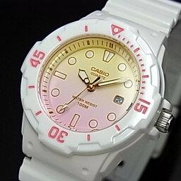 CASIO/Standard模擬石英女士手錶白橡膠皮帶燈黄色/粉紅表盤海外型號LRW-200H-4E2