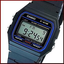 CASIO/Standard警報計時儀人手錶男孩尺寸輕量、薄型的數碼的液晶型號黑色橡膠皮帶(國內正規的物品)F-91W-1JF