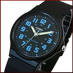CASIO/Standard模擬石英人手錶男孩尺寸橡膠皮帶黑色/藍色表盤海外型號MQ-71-2B